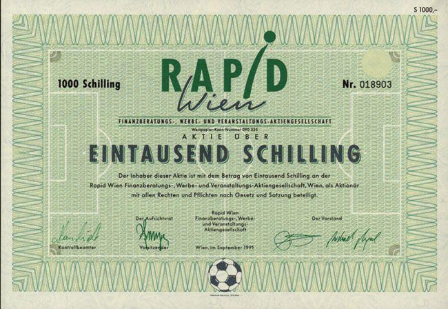 HWPH AG - Historische Wertpapiere - Rapid Wien Finanzberatungs-, Werbe- und Veranstaltungs-AG / Wien, September 1991, Aktie über 1.000 Schilling