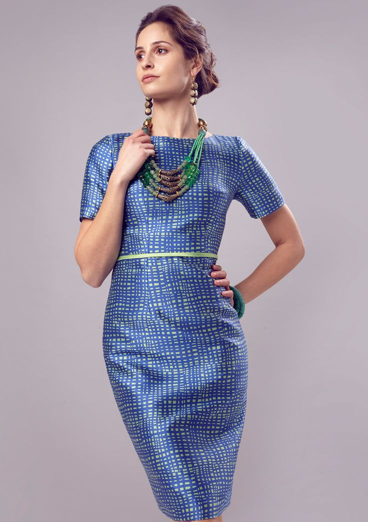 Silk Dress with Sleeves in Royal Blue/Lime Jacquard - Angie