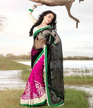 Ishya Black-Pink Net Georgette Saree   Each product is melange of perfection, intricacy & divinity. Bring home a pinch of zest.    http://www.snapdeal.com/product/ishya-blackpink-net-georgette-saree/258172?utm_source=Fbpost_campaign=Delhi_content=199629_medium=190912_term=Prod
