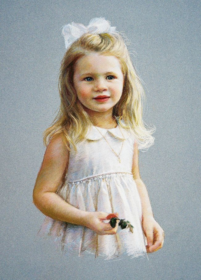 Young girl outside with lace dress by Portrait Inc.