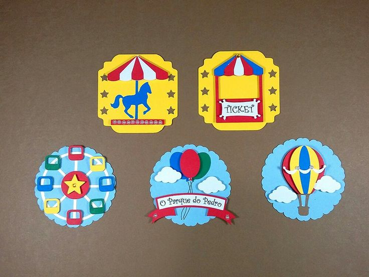 A festinha Parque de Diversões ficará ainda mais divertida com estas lindas e coloridas tags no tema Parque de Diversões