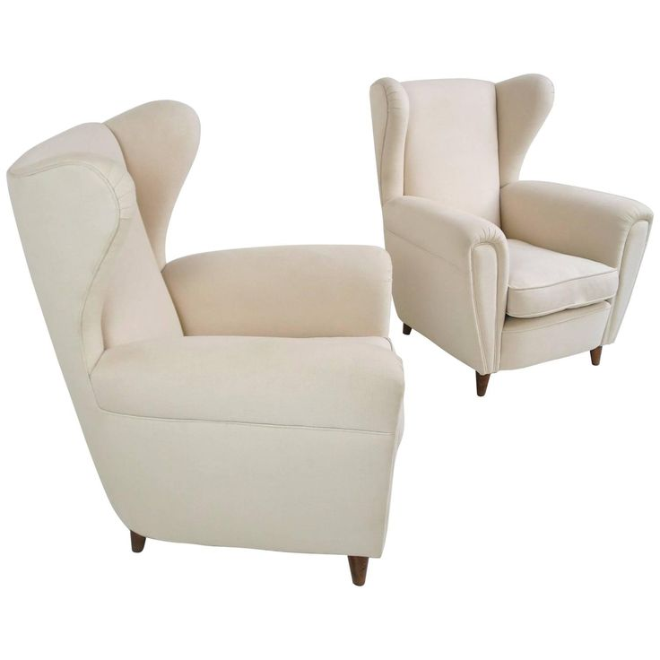 Stylized Italian Wingback Pair of Large Chairs, circa 1949