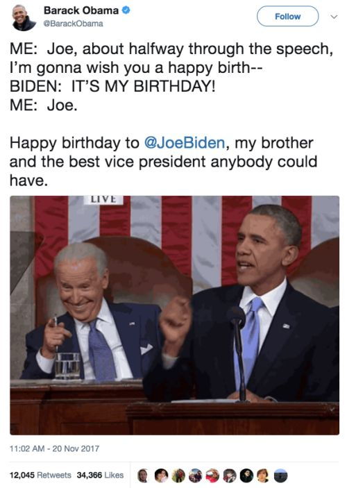 Obama wishing Biden a happy birthday Funny Pics funny happy positive thoughts wholesome