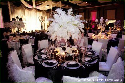 Thinking of these behind main table art deco table for Art deco wedding decoration ideas