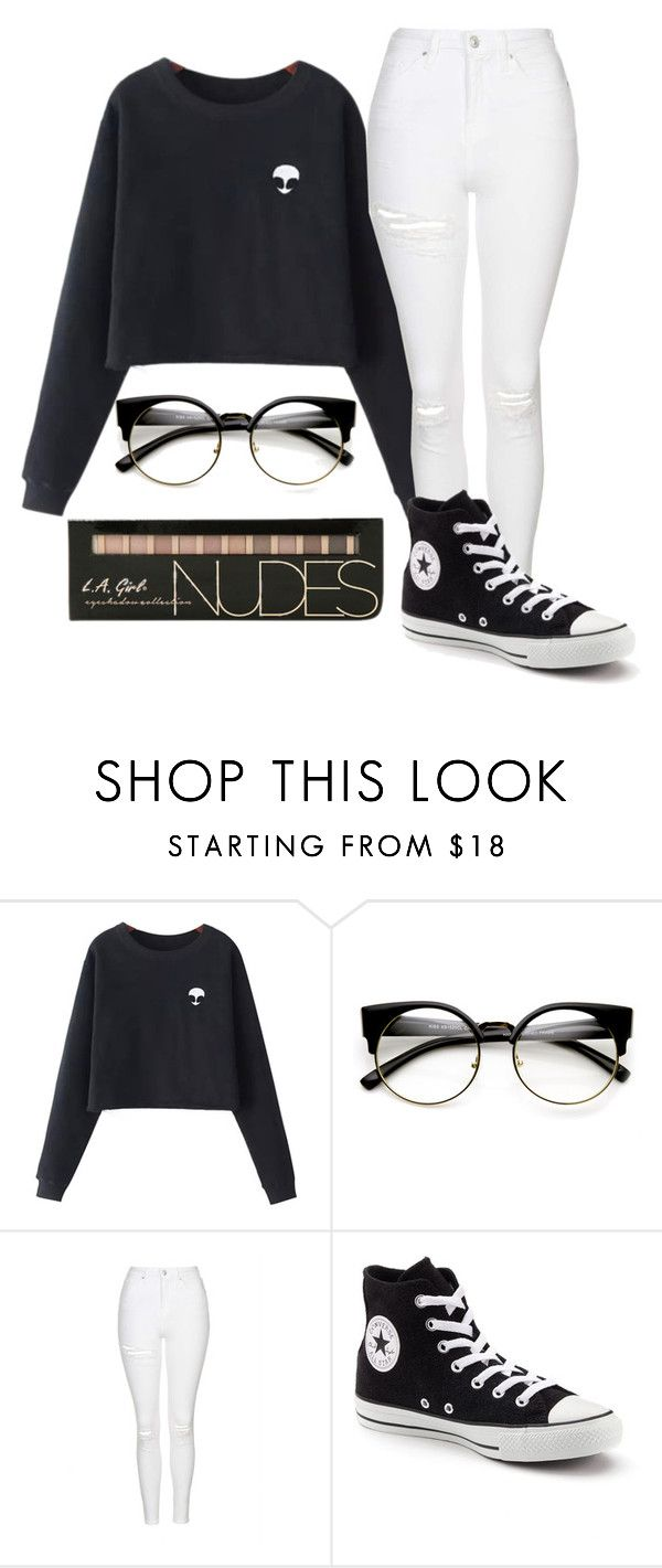 """""""Untitled #2058"""" by ayannap ❤ liked on Polyvore featuring Chicnova Fashion, Topshop and Converse"""