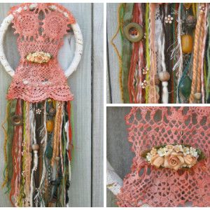 Materials Used: donated wools, strings, mesh; lace from curtains & old shirts; homemade pen-dyed doily & materials; old bell; vintage beads & buttons; chain; plastic flowers from old scrunchie; handmade brooch; cardboard ring. https://www.facebook.com/RawRoughRecycled