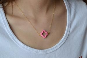 Pink Clover Quatrefoil Necklace 24K Gold Edged by WonderfulJewelry