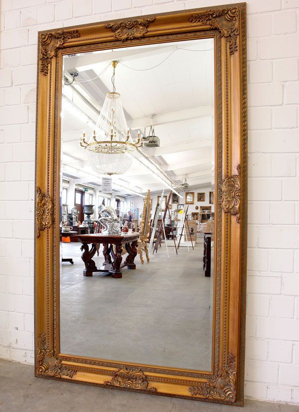 Grand miroir en bois dore louis xv empire 212x120cm for Grand miroir ancien