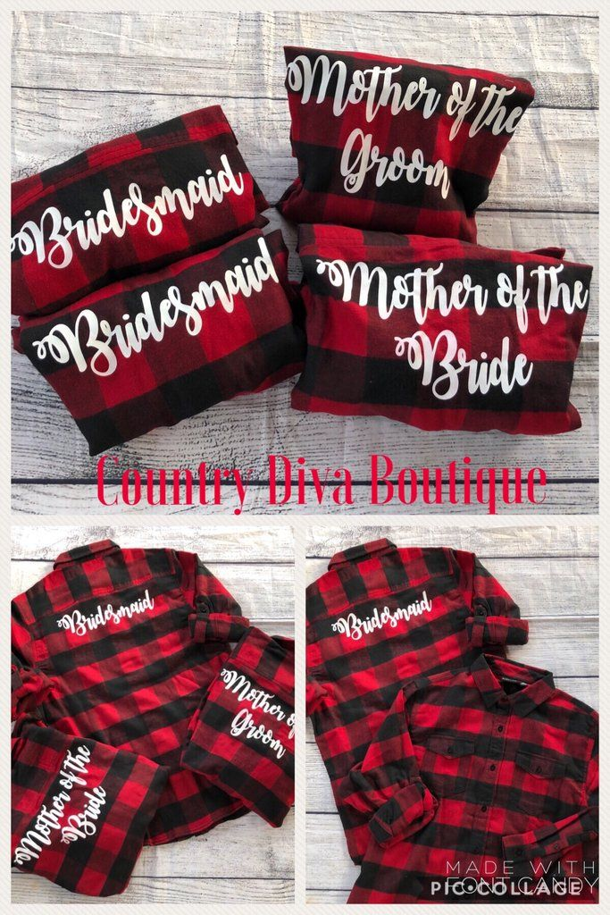 Bridal Party Flannels Cozy and warm bridal flannels perfect for the fall winter weddings.  Bridal party unisex  flannels,printed with vynil white letters.   Flannels have bridesmaid or made of honor detail across the back of flannel.  Also available : Mother Of the Bride Mother Of the Groom Flower girl  Team Bride  Bridal Squad  Bridal part
