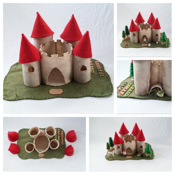 Red Turret Castle Playscape Play Mat pretend storytelling fantasy fairytale storybook open-ended princess knight make believe felt toy