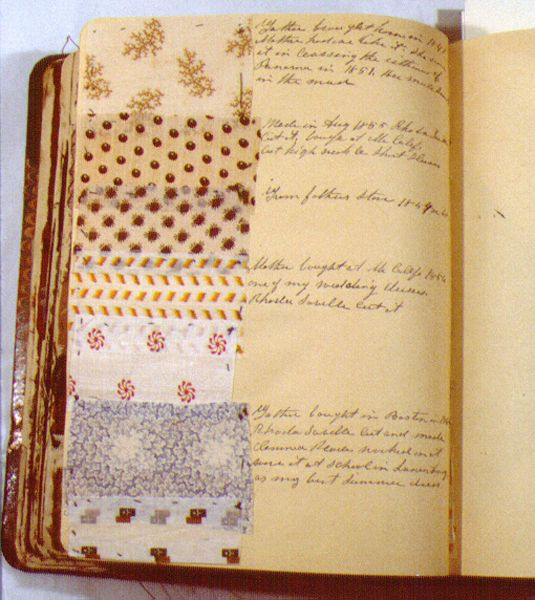 Description: Sewing diary of fabric samples from clothing worn by Ann Eliza Cunningham. Cunningham's handwritten notes accompany many samples and indicate variously where the fabric was purchased, who made it into clothing, who wore it, and where it was worn. The notes appear to have been written in retrospect, probably about 1885-90; the fabrics date from 1841 to 1890. Many of the samples are sewn on pages, although some are loose in the book.