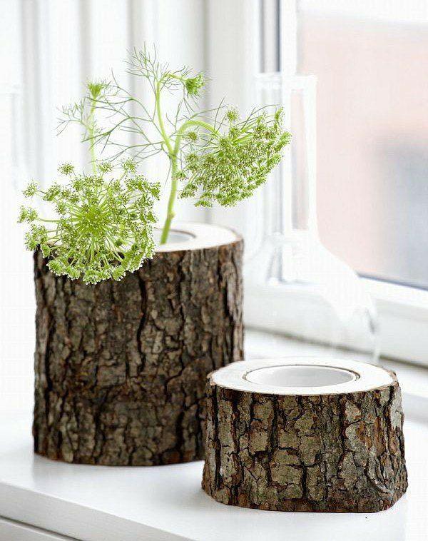Baumstamm Blumentöpfe Design Ideen