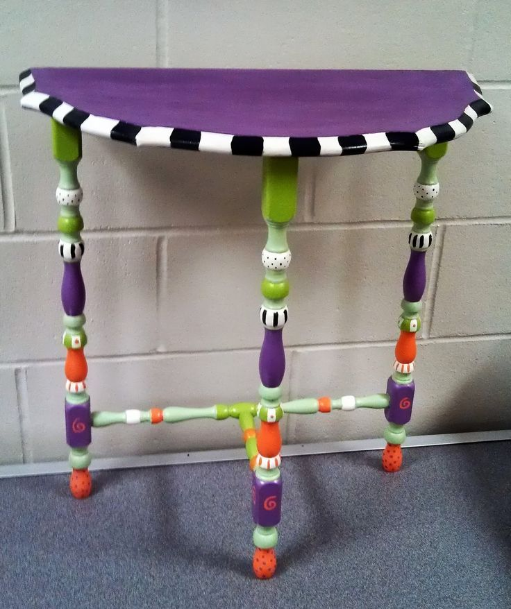 Carolyn's Funky Furniture: Little Purple Half Moon Table