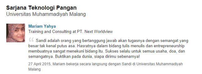 Testimoni Mariam Yahya Universitas Muhammadiyah Malang