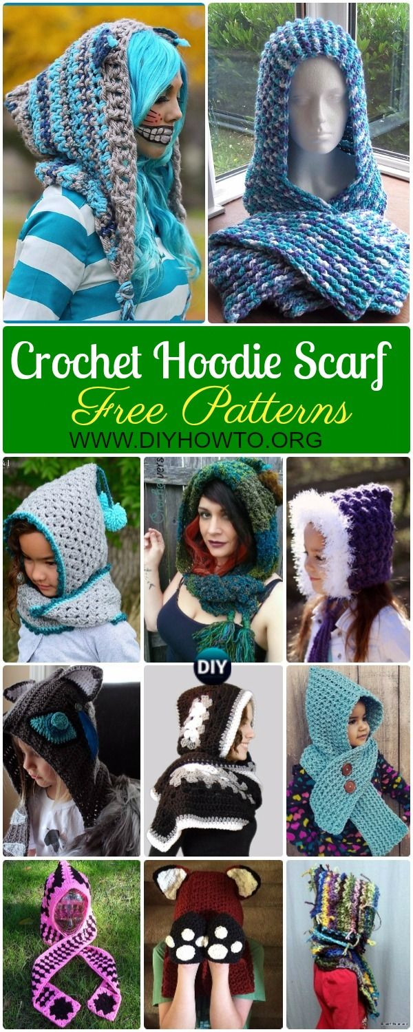 Collection of Crochet Hoodie Scarf Scoodie Free Patterns & Paid: Crochet Scoodie with Pocket, Animal Scoodie, Fox Hooded Scarf, Cat Scoodie & More via @diyhowto