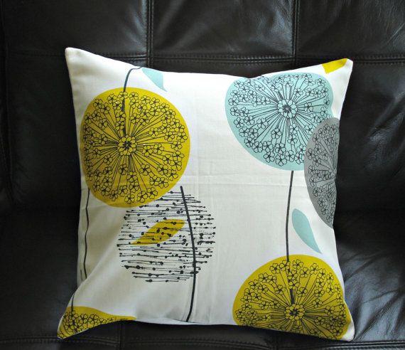 Decorative pillows teal mustard yellow dandelion blue grey gray black clock allium design cushion shams UK designer fabric One 18 inch via Etsy