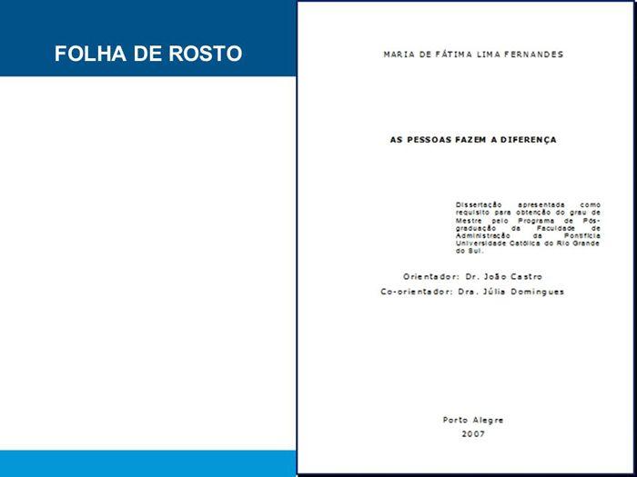 Folha de Rosto ABNT - Normas ABNT