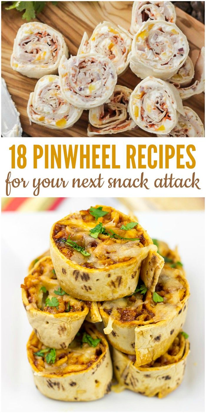 "You know those days when you just can't seem to satisfy your hunger? I call those ""snack attacks"", but really, I need something more than the usual snack to make the munchies go away. These pinwheel recipes are the perfect thing for an afternoon snack, after school snack, etc. without being too heavy."