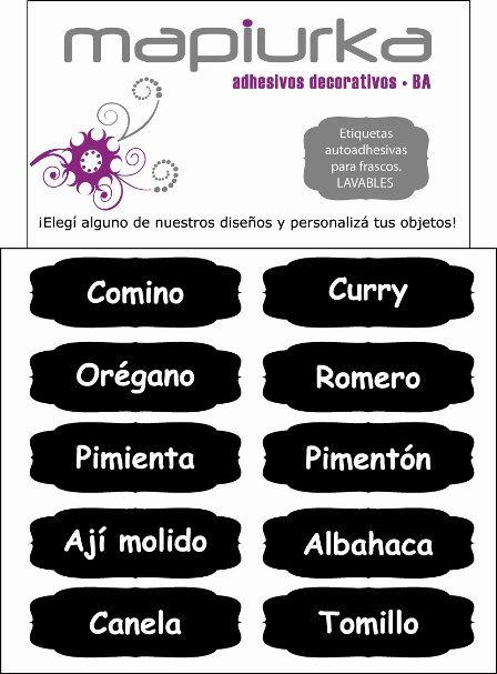 Etiquetas Mapiurka para identificar tus especias Facebook: https://www.facebook.com/mapiurka.adhesivosdecorativos