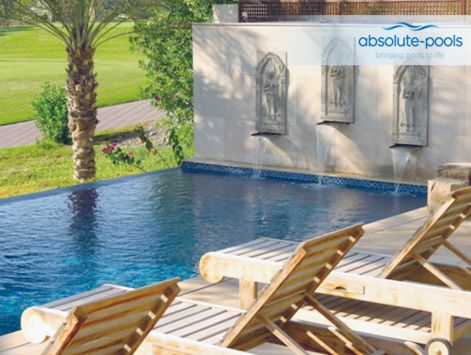 Chill by your #private #pool listening to the quiet #rhythm of waterfalls and enjoying the view of the golf course!  #absolutepools #MyDubai #UAE