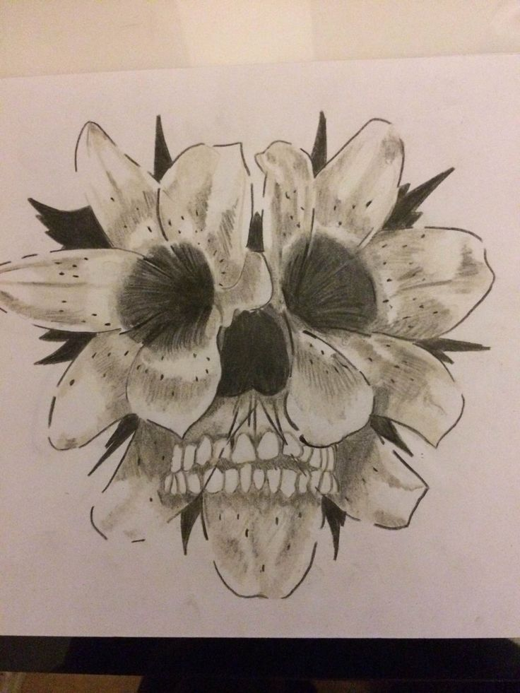 Flower Skull Tattoo 1 by snco-art0713 on deviantART...Lilies ironically they remind me of death (funerals)