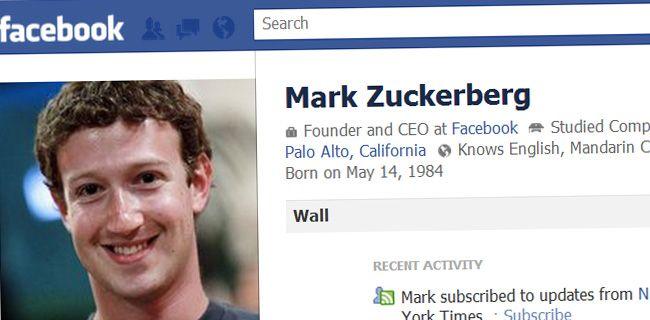Facebook profiel Mark Zuckerberg