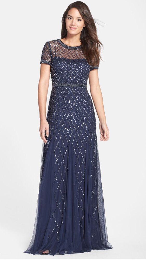 $318 Adrianna Papell Cap Sleeve Fully Beaded Mesh Gown Navy Size 10 | eBay