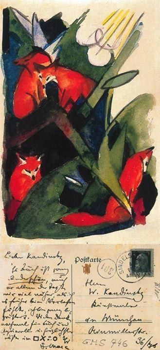 Postcard to Kandinsky from Franz Marc below his Four Foxes painting done in 1913
