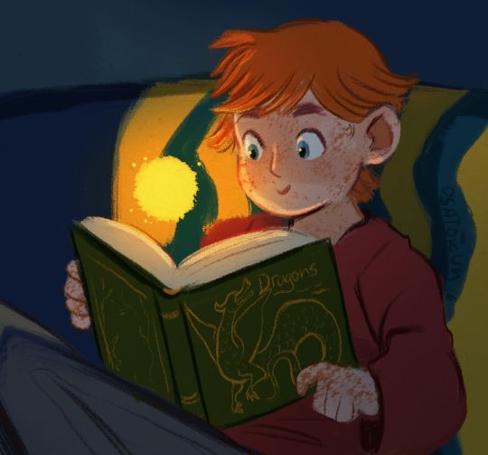 Little Charlie kid discovering a new book