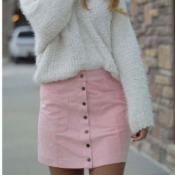 Pink suede button up skirt Brand new in package blush pink suede like button up skirt. Light material not bulky Skirts Mini