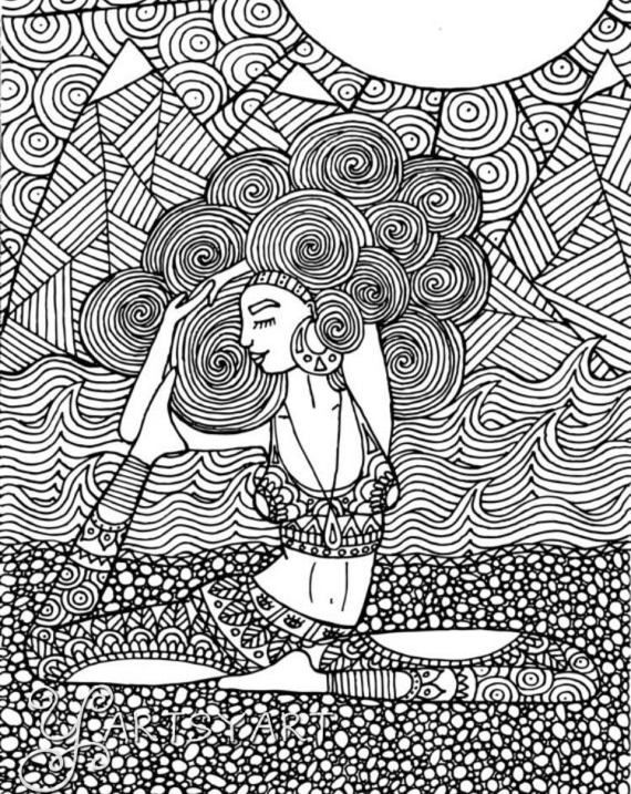 Peaceful Beautiful Yogi By Yartsyart On Etsy ColouringColoring BooksMindfulnessHand