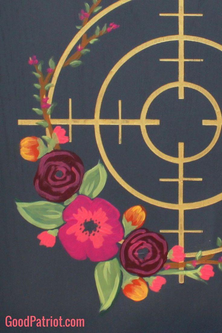 Women's gun decor - ladies gun art - wall decor - 2nd Amendment - Second Amendment - for women. Floral Scope framed in rustic wood - you've got to see it!