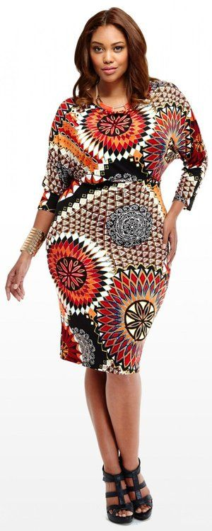 Bittnee Blair Plus Size Geometric Print Dress  #UNIQUE_WOMENS_FASHION