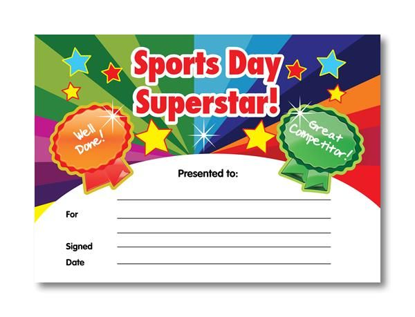 Sports Day Superstar Certificates. 20 identical A5 certificates per pack http://www.superstickers.com/i/mc12581/certificate-co--sports-day-superstar