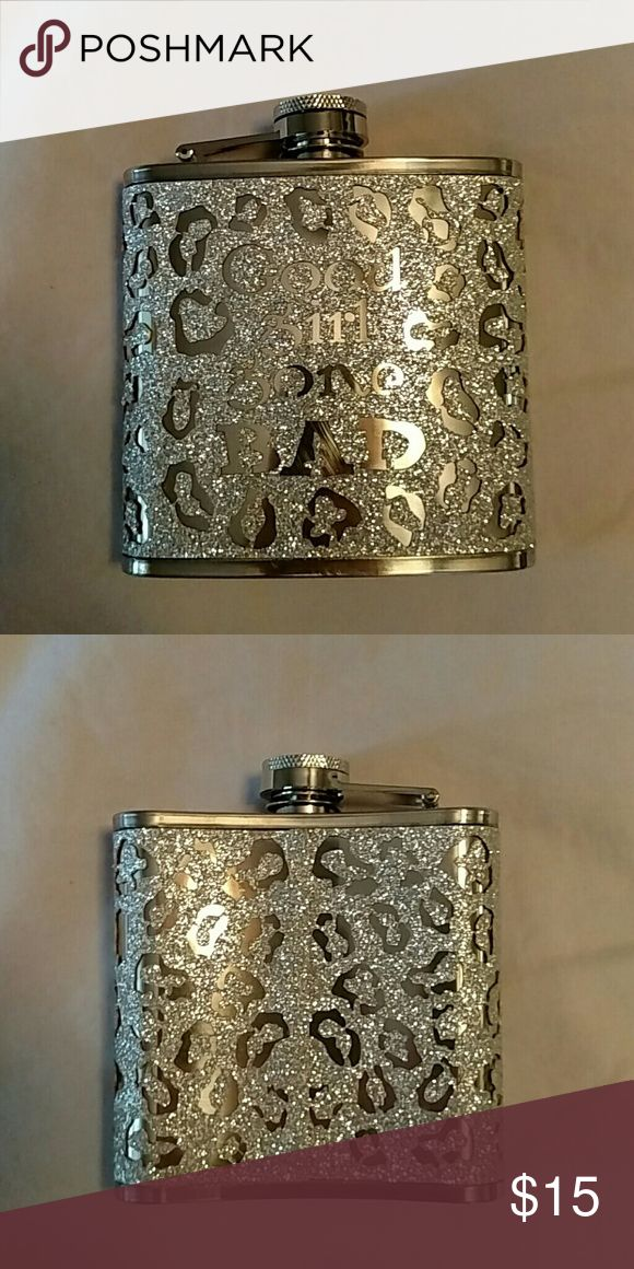 "New flask ""Good gone bad"" silver cover new New flask without tag silver says good girl gone bad flask  3 1/2 by 3 1/2 inches wide and long no brand Jewelry Bracelets"