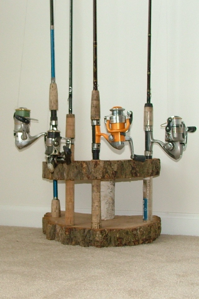 Wood fishing pole holder woodworking projects plans for Fishing rod rack