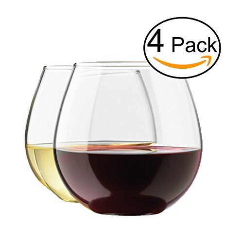 Stemless Wine Glass Set, 4-Pack, 15 Ounce Wine Tumbler Set, Shatter- Resistant H.. USD 12.99