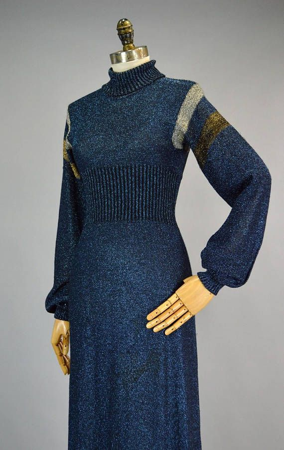 889eea42bc Metallic Lurex Sweater Dress XS S Vintage 70s Wenjilli Blue Glitter ...