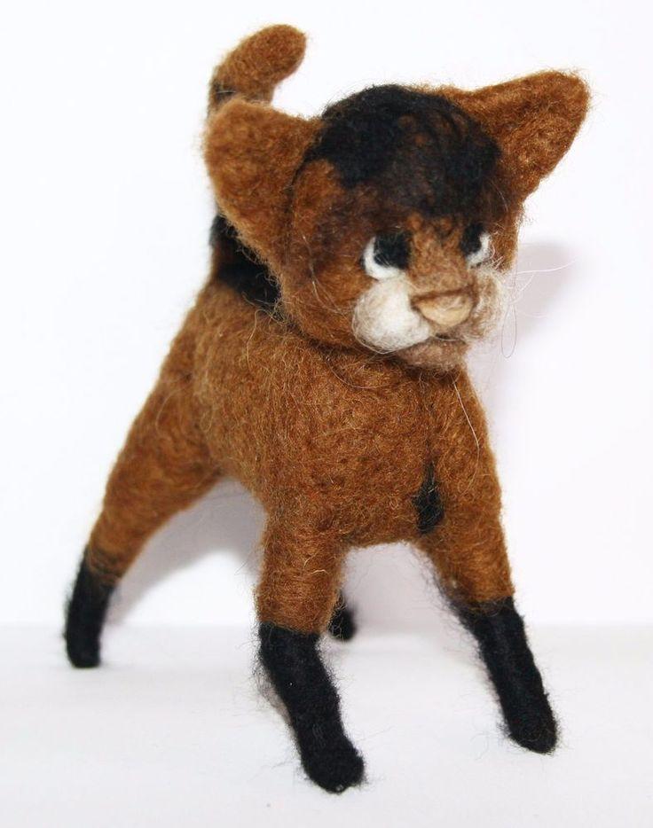 sweet Cat  needle felted miniature beautiful animal toys  handmade #4 #nutka_art #AllOccasion