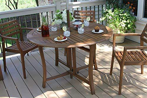 Amazon Com Outdoor Interiors Round Folding Table 48 Inch Brown Garden Outdoor Round Patio Table Round Folding Table Outdoor Dining Table