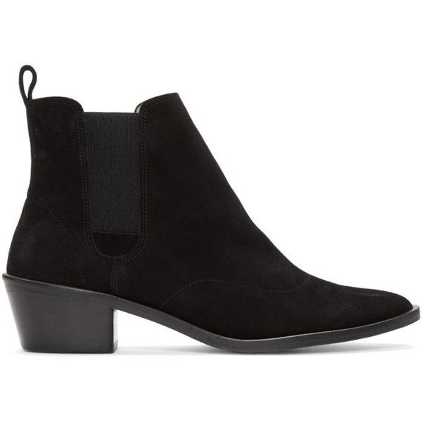 Repetto Black Suede Auguste Boots (12,610 PHP) ❤ liked on Polyvore featuring shoes, boots, ankle booties, black, black suede boots, leather sole boots, cuban heel boots, suede leather boots and ankle high boots