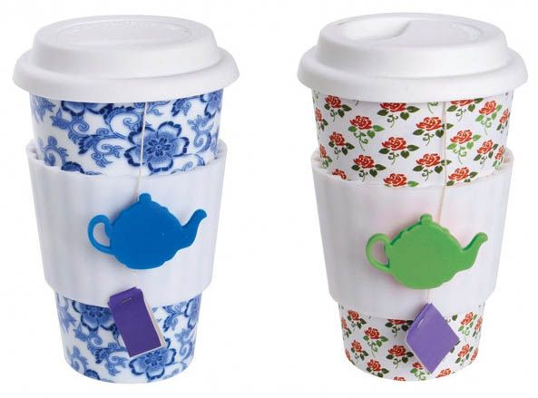 Cute reusable teacup. You can wrap the string of your teabag around the little teapot button :)