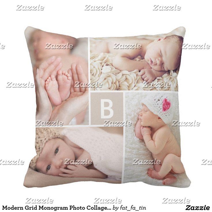 Modern Grid Monogram Photo Collage Custom Cushion. Inspiration to create your product. The photograph must have good resolution. Inspiración para crear tu producto. La fotografía debe tener buena resolución. #cojín #pillows