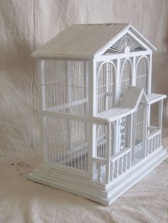 Vintage Wire and Wood Birdcage Wedding White House Shabby French Beach Cottage Decor. $80.00, via Etsy.