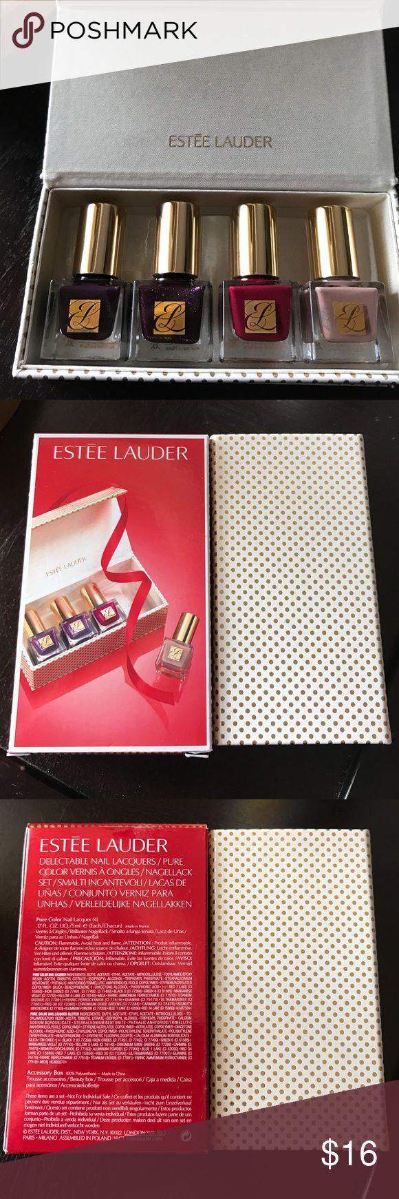 ❤️️FINAL SALE❤️️ NIB Estée Lauder Nail Lacquers 4 nail lacquers in adorable box Estee Lauder Makeup