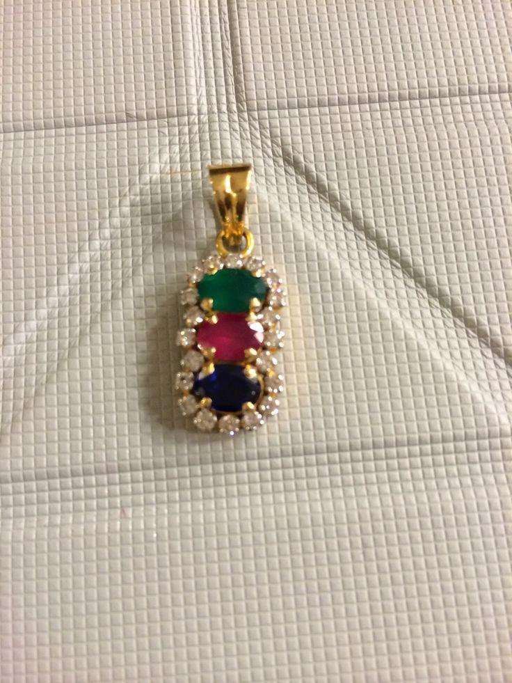 Beautiful ruby and emerald diamond pendant