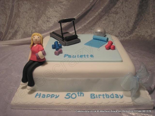 Pilates Cake. Pilates themed square novelty cake