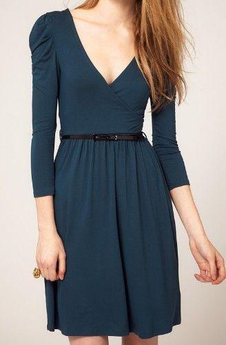 {green v-neck puff sleeve wrap dress} classic