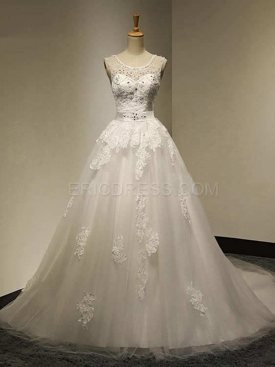 ericdress.com offers high quality  Ericdress Pretty Scoop Appliques Beadings Sheer Back Weeding Dress Wedding Dresses 2015 unit price of $ 169.19.