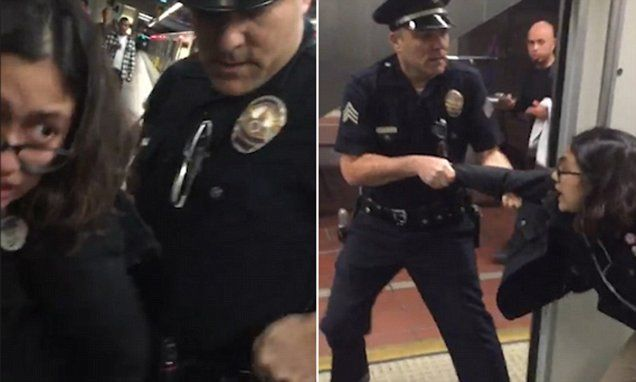 LAPD cop filmed dragging woman off train for feet on seat